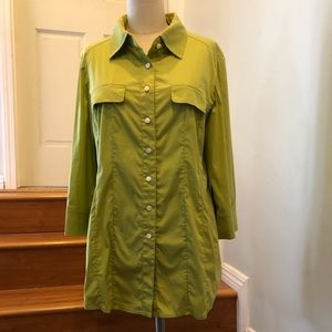 Worth Button Down Shirt Fitted 3/4s, Lime Color